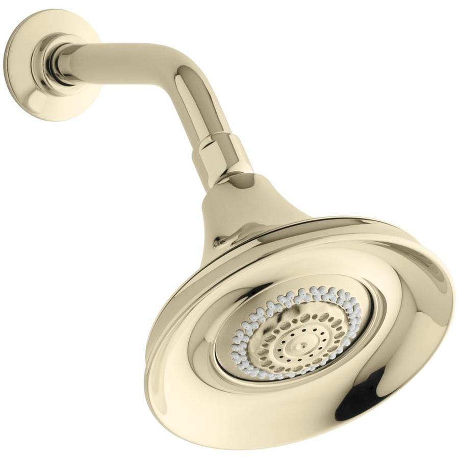KOHLER Forte 5.9375-in 2.5-GPM (9.5-LPM) Vibrant French Gold 4-Spray Rain Showerhead