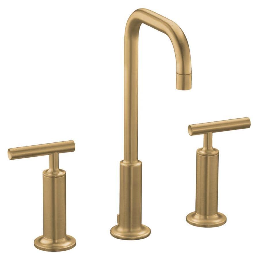 KOHLER Purist Vibrant Brushed Bronze 2-Handle Widespread WaterSense Bathroom Faucet (Drain Included)