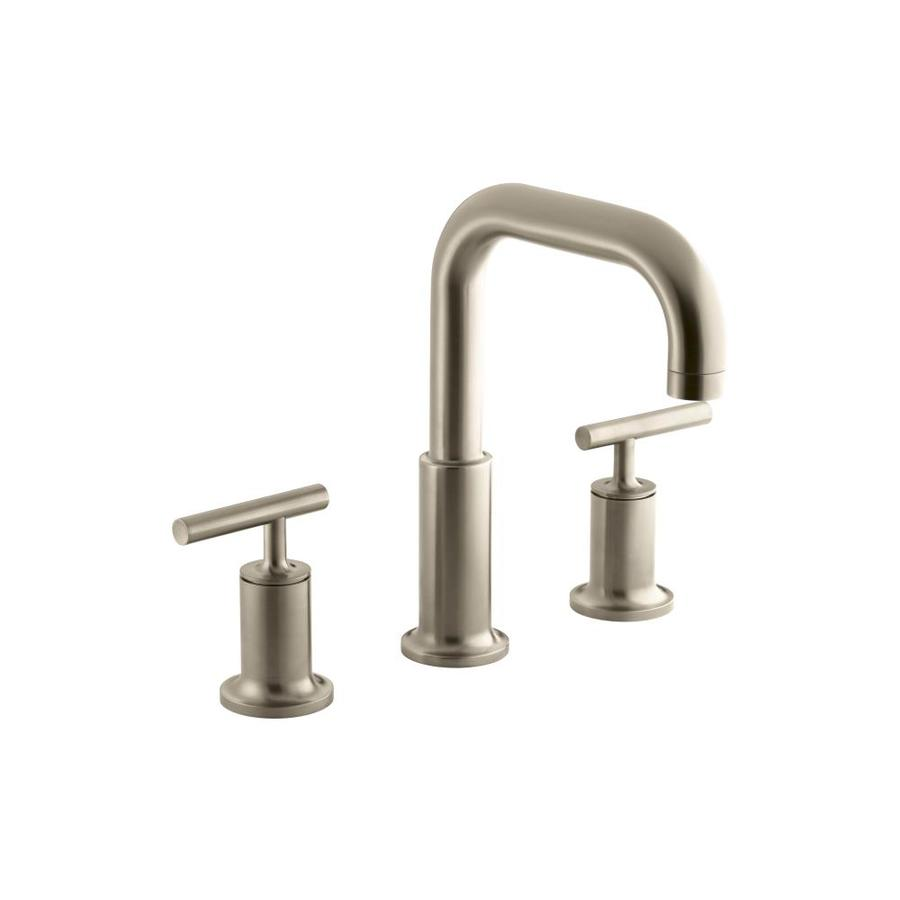 KOHLER Purist Vibrant Brushed Bronze 2-Handle Fixed Deck Mount Bathtub Faucet