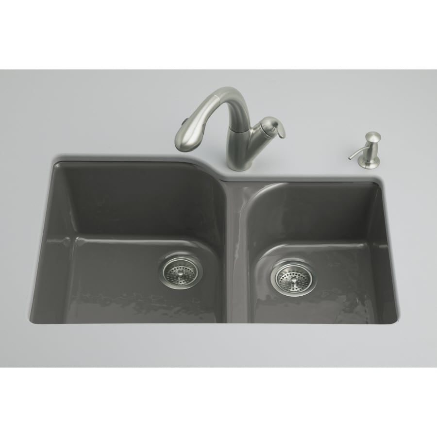 KOHLER Executive Chef 22-in x 33-in Thunder Grey Double-Basin Cast Iron Undermount 4-Hole Residential Kitchen Sink