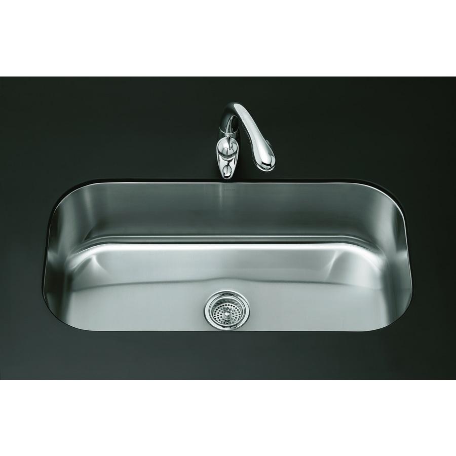 KOHLER Undertone 18.5-in x 35.5-in Stainless Steel Single-Basin Undermount Residential Kitchen Sink