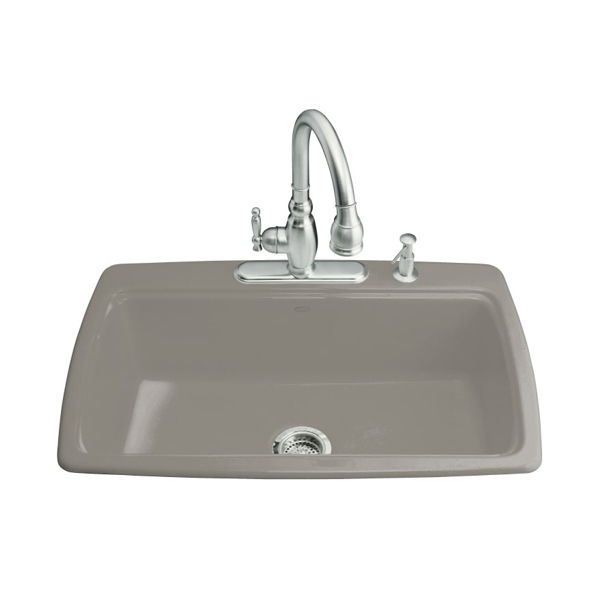 KOHLER Cape Dory 22-in x 33-in Cashmere Single-Basin Cast Iron Drop-in 2-Hole Residential Kitchen Sink