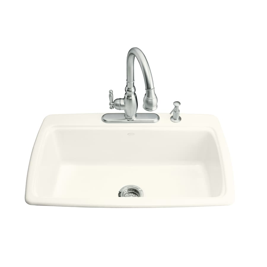 KOHLER Cape Dory 22-in x 33-in Biscuit Single-Basin Cast Iron Drop-in 3-Hole Residential Kitchen Sink