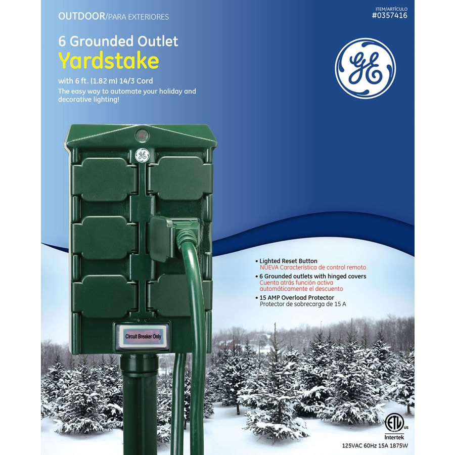 GE 6-ft 6-Outlet 14-Gauge Outdoor Extension Cord with Built-In Circuit Breaker