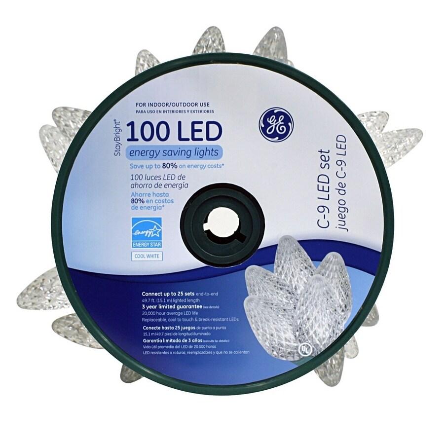shop ge 100 count white c9 led christmas string lights energy star. Black Bedroom Furniture Sets. Home Design Ideas