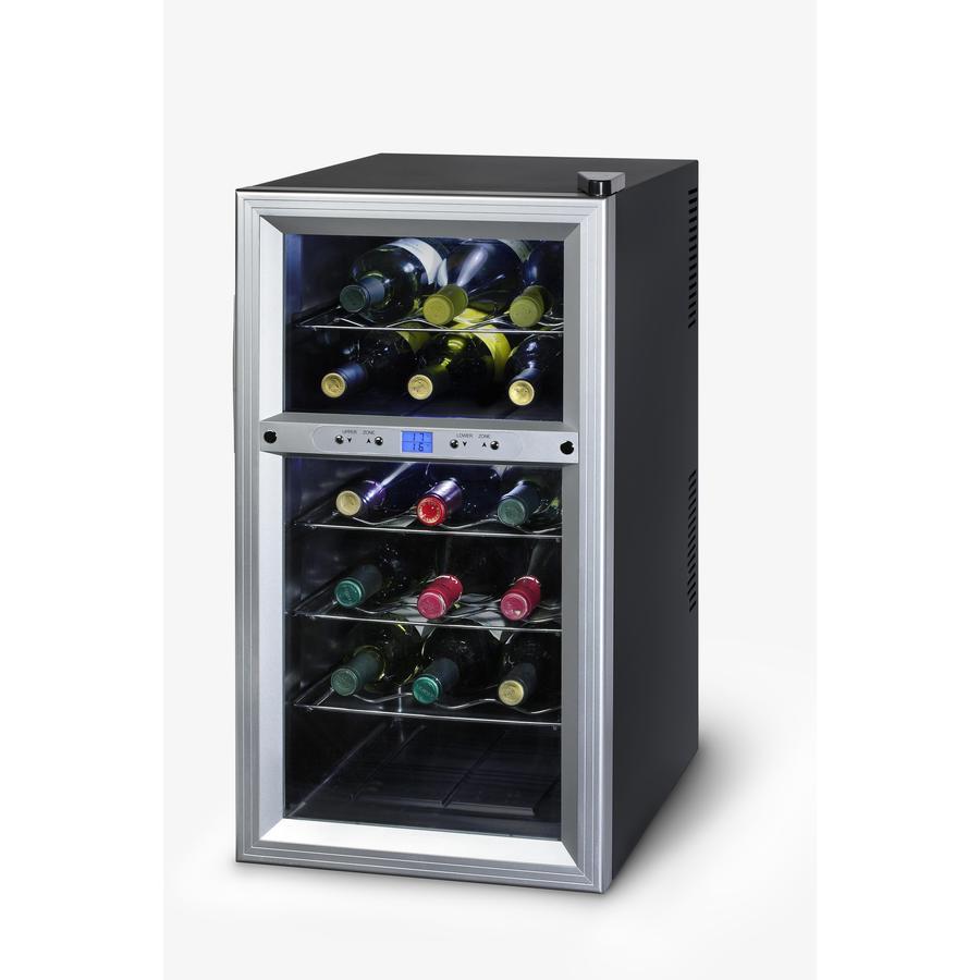 KALORIK 18-Bottle Black Dual Zone Freestanding Wine Chiller