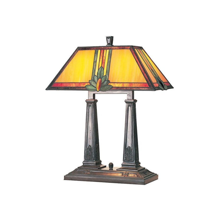 Lite Source 19.75-in Bronze Indoor Table Lamp with Tiffany-Style Shade