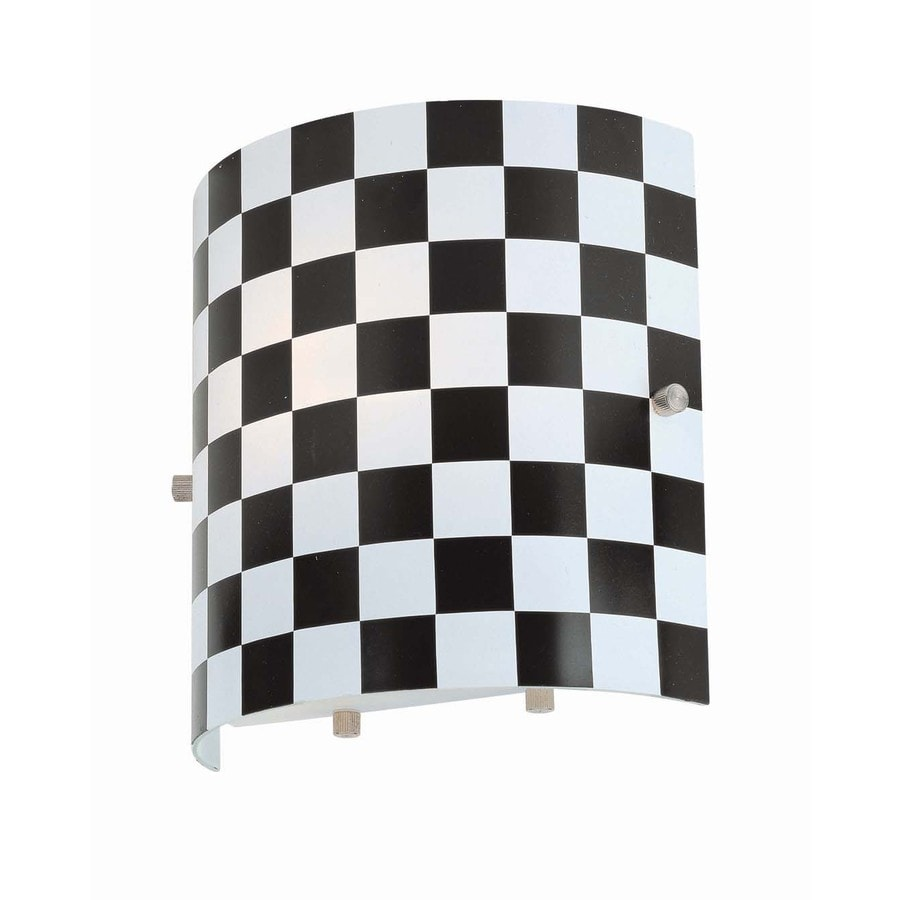 Lite Source 8-in H Black Wall-Mounted Lamp with Glass Shade