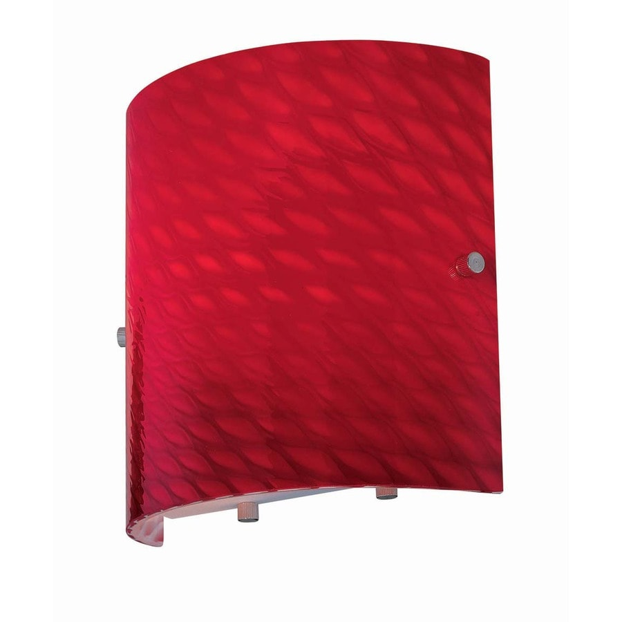 Lite Source 8-in H Red Wall-Mounted Lamp with Glass Shade