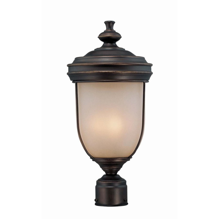 Lite Source 18-in H Dark Bronze Outdoor Table Lamp with Glass Shade
