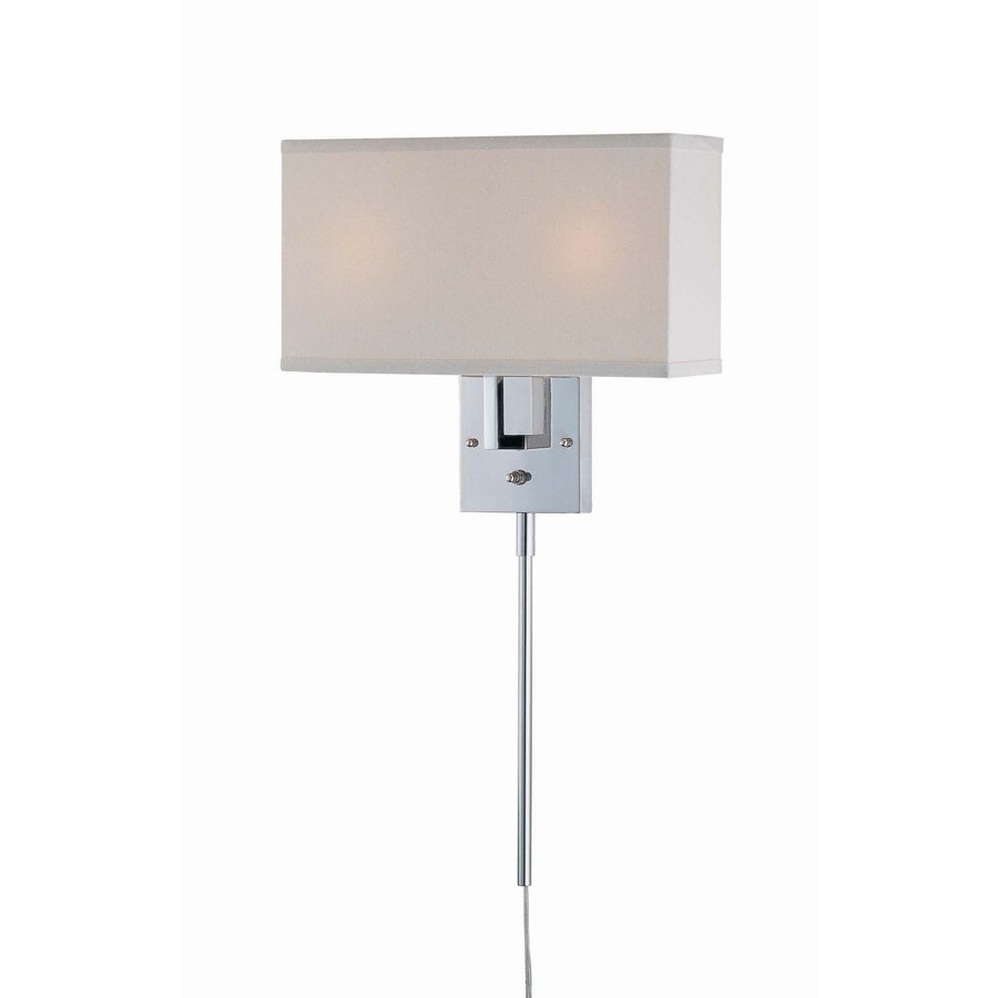 Lite Source 36.25-in H Chrome Wall-Mounted Lamp with Fabric Shade
