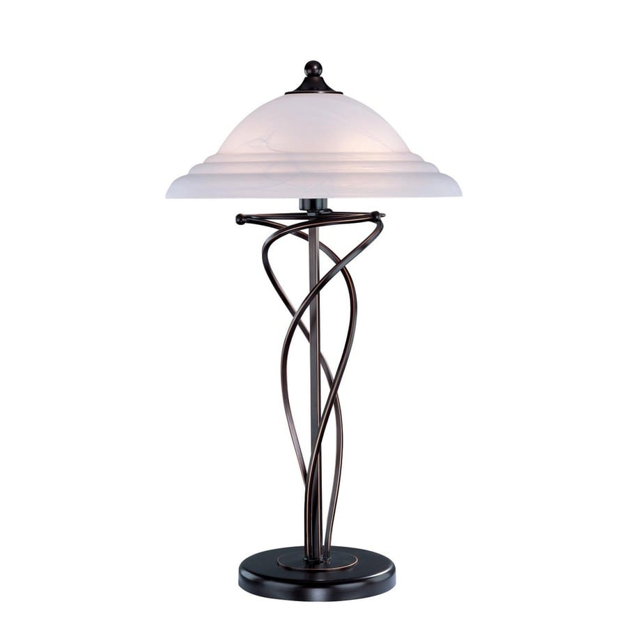 Lite Source 28.5-in Bronze Indoor Table Lamp with Glass Shade
