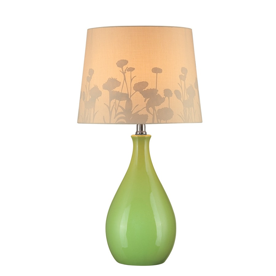 Lite Source 22.25-in Green Indoor Table Lamp with Fabric Shade