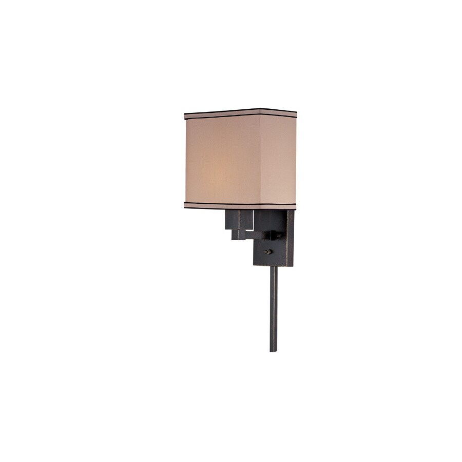 Shop Lite Source 14-in H Bronze Wall-Mounted Lamp with Fabric Shade at Lowes.com