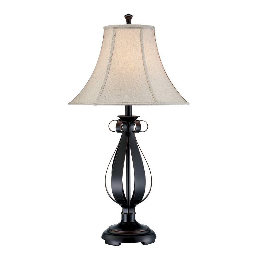 Lite Source 32-1/2-in Bronze Indoor Table Lamp with Fabric Shade