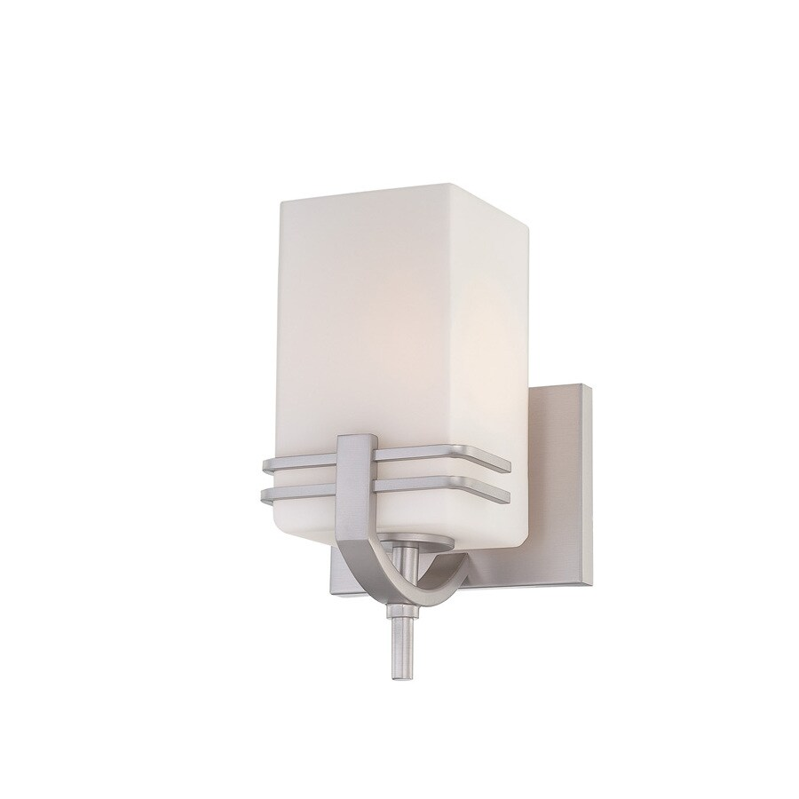 Lite Source 10-in H Steel-Painted Wall-Mounted Lamp with Glass Shade