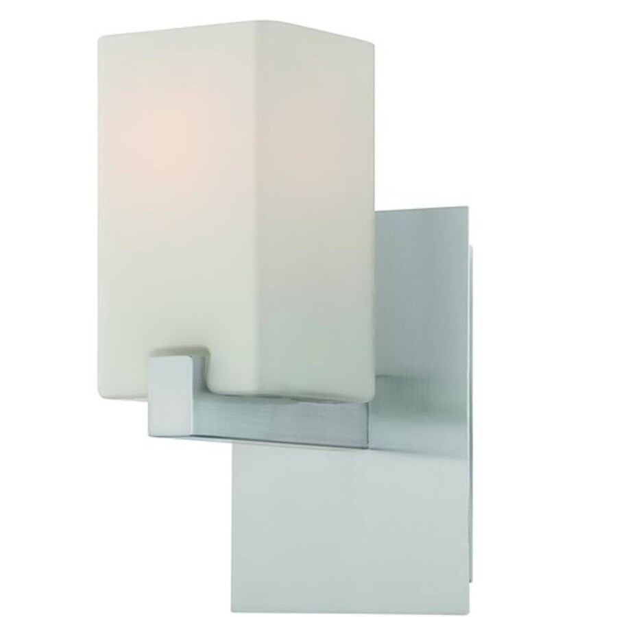 Lite Source 11-in H Polished Steel Wall-Mounted Lamp with Glass Shade