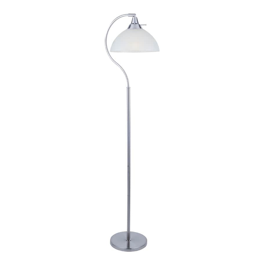 Lite Source Zuna 56-in Polished Steel Indoor Floor Lamp with Plastic Shade