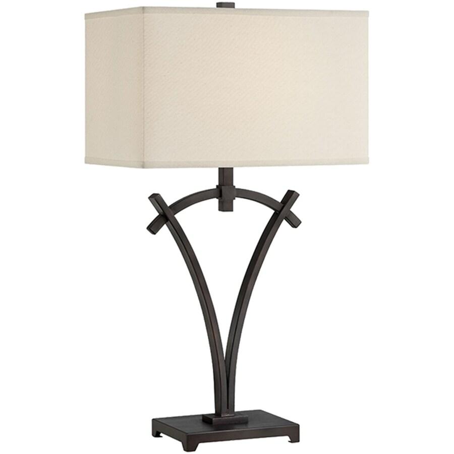 Lite Source Madeleine 29.5-in Dark Bronze Indoor Table Lamp with Fabric Shade