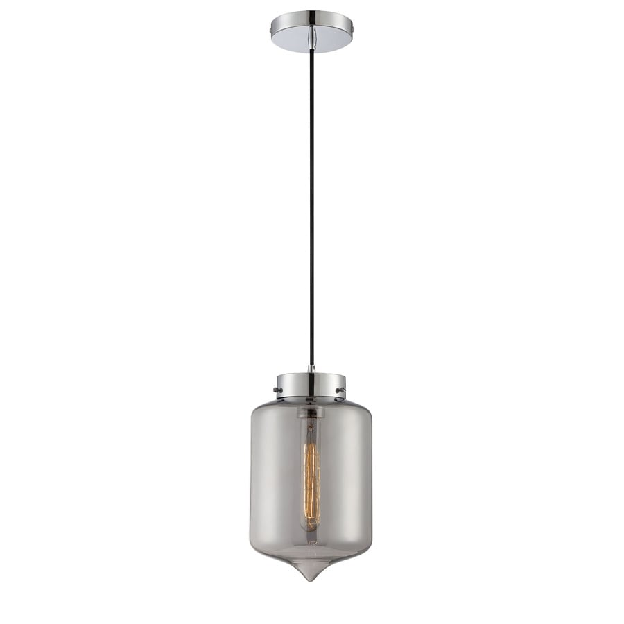 Lite Source Zelia 7-in Chrome/Gloss Industrial Single Clear Glass Jar Pendant