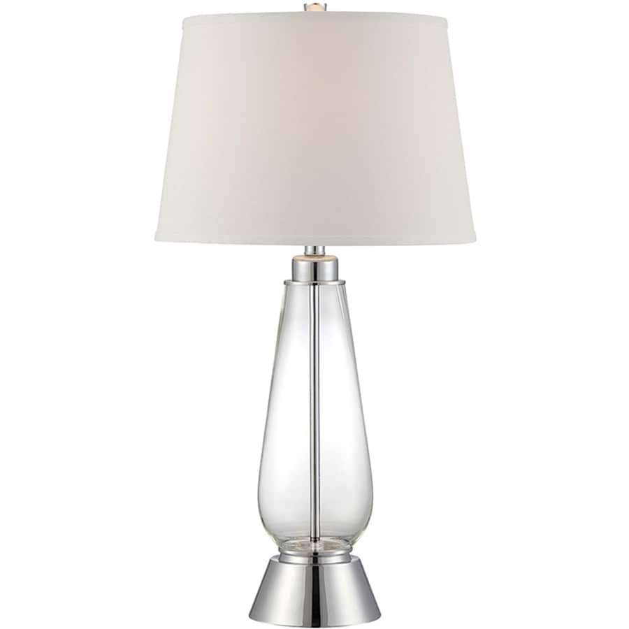 Lite Source Danya 30.5-in 3-Way Polished Steel, Clear Indoor Table Lamp with Fabric Shade