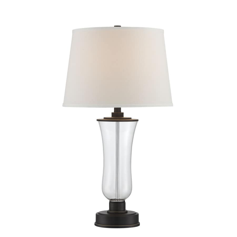 Lite Source Prisco 28.5-in Dark Bronze, Clear Indoor Table Lamp with Fabric Shade