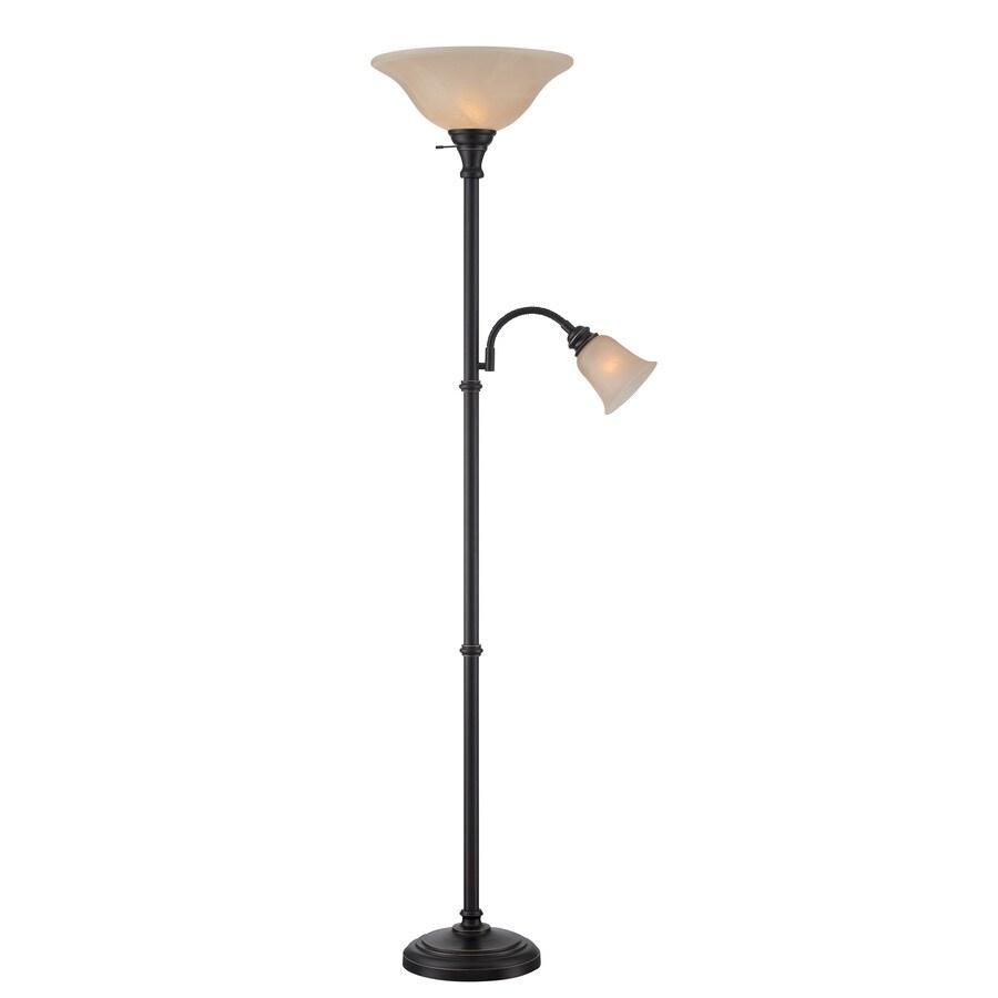 Lite Source Henley 72-in Dark Bronze Multi-Head Indoor Floor Lamp with Glass Shade