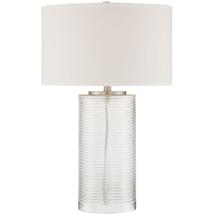Lite Source Senza 29-in Polished Steel, Clear Indoor Table Lamp with Fabric Shade
