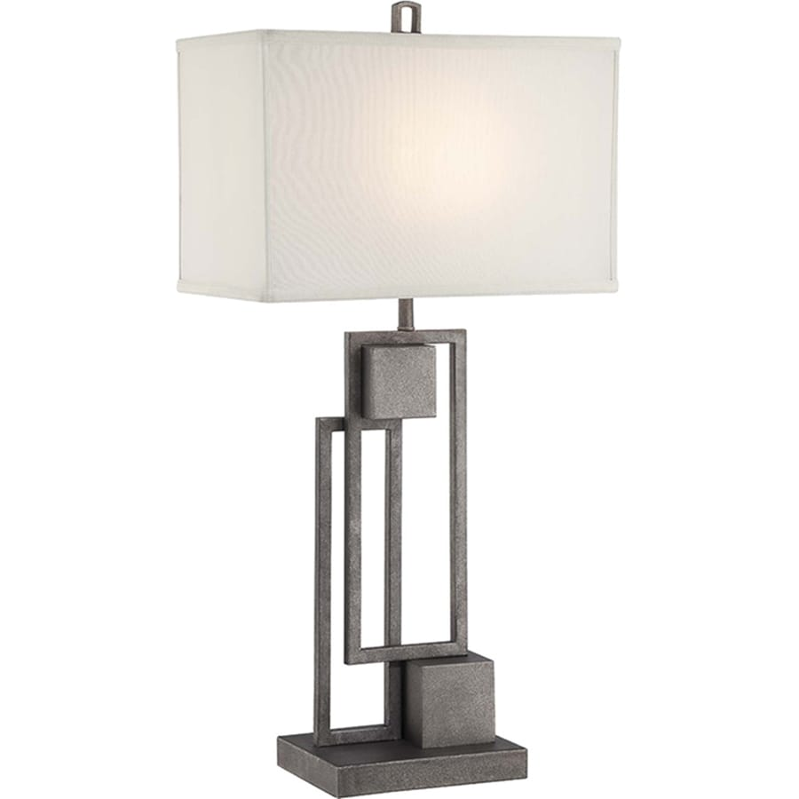 Lite Source Volterra 30.5-in Antique Patina Indoor Table Lamp with Fabric Shade