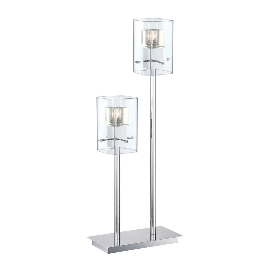 Lite Source Aida 30-in Chrome Indoor Table Lamp with Glass Shade