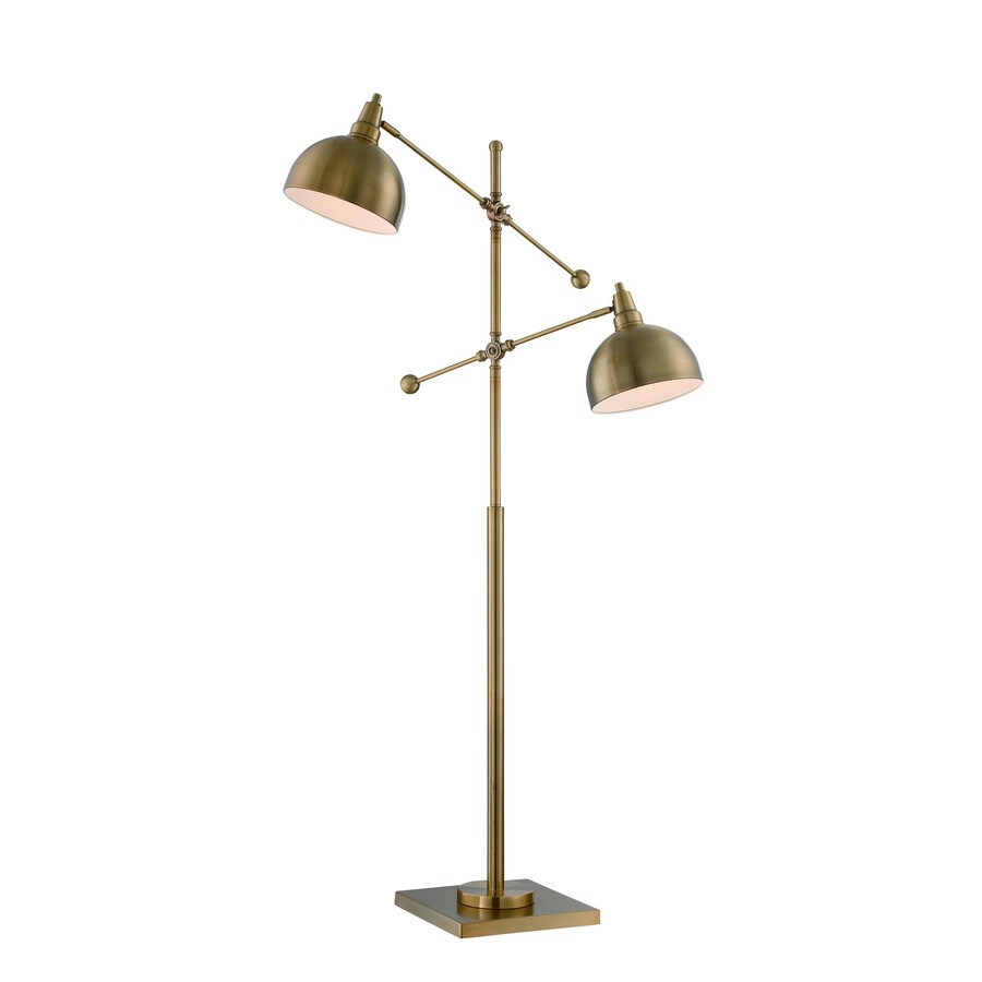 59 in brushed brass multi head indoor floor lamp with metal shade. Black Bedroom Furniture Sets. Home Design Ideas