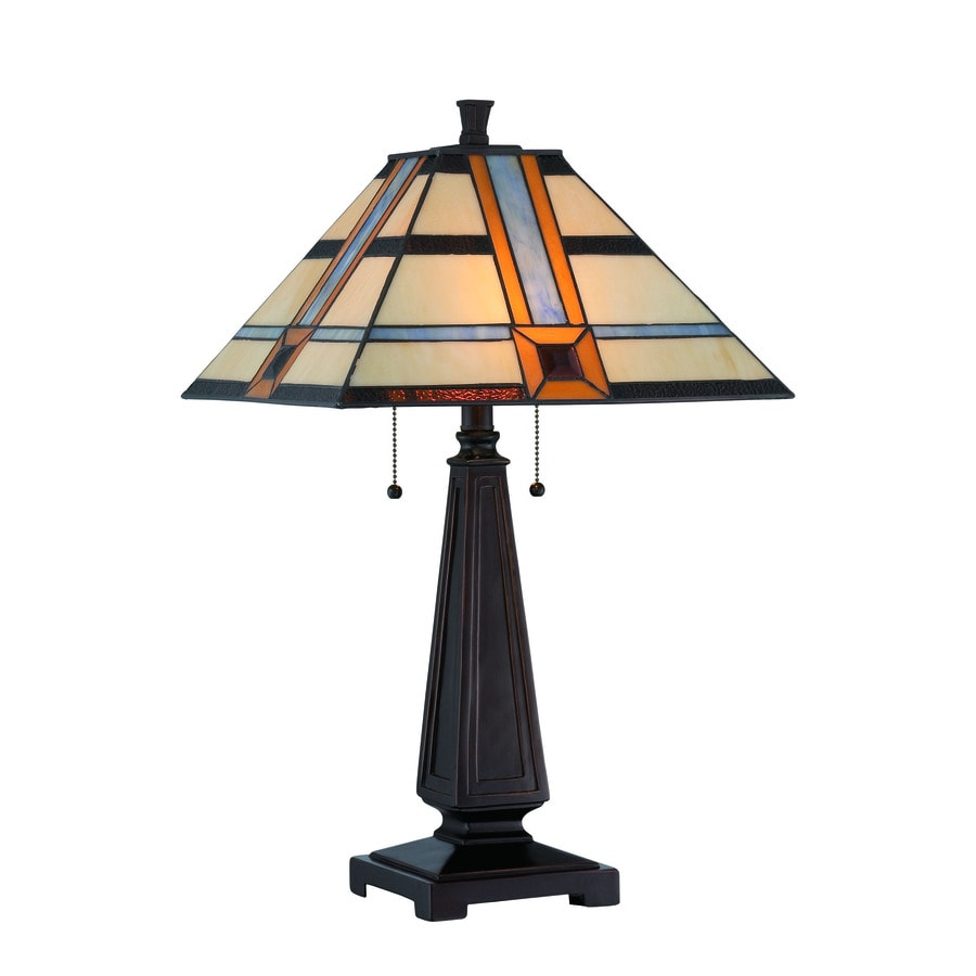 Lite Source Vienna 25.5-in Dark Bronze Tiffany-Style Indoor Table Lamp with Tiffany-Style Shade