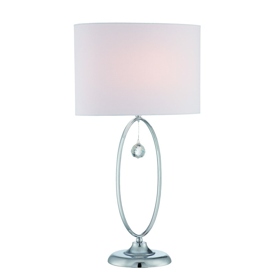 Lite Source Joya 26.5-in Chrome Crystal Indoor Table Lamp with Fabric Shade