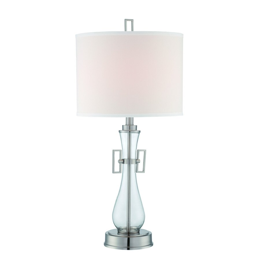 Lite Source Dyani 29.5-in 3-Way Polished Steel Clear Indoor Table Lamp with Fabric Shade