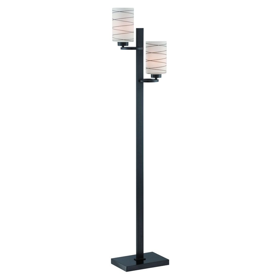 Lite Source Tsukiko 58-in Black Multi-Head Indoor Floor Lamp with Glass Shade