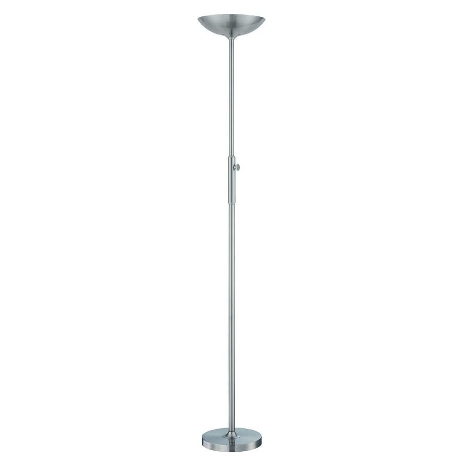 Lite Source Lemuel 70-in Polished Steel Torchiere Indoor Floor Lamp with Metal Shade