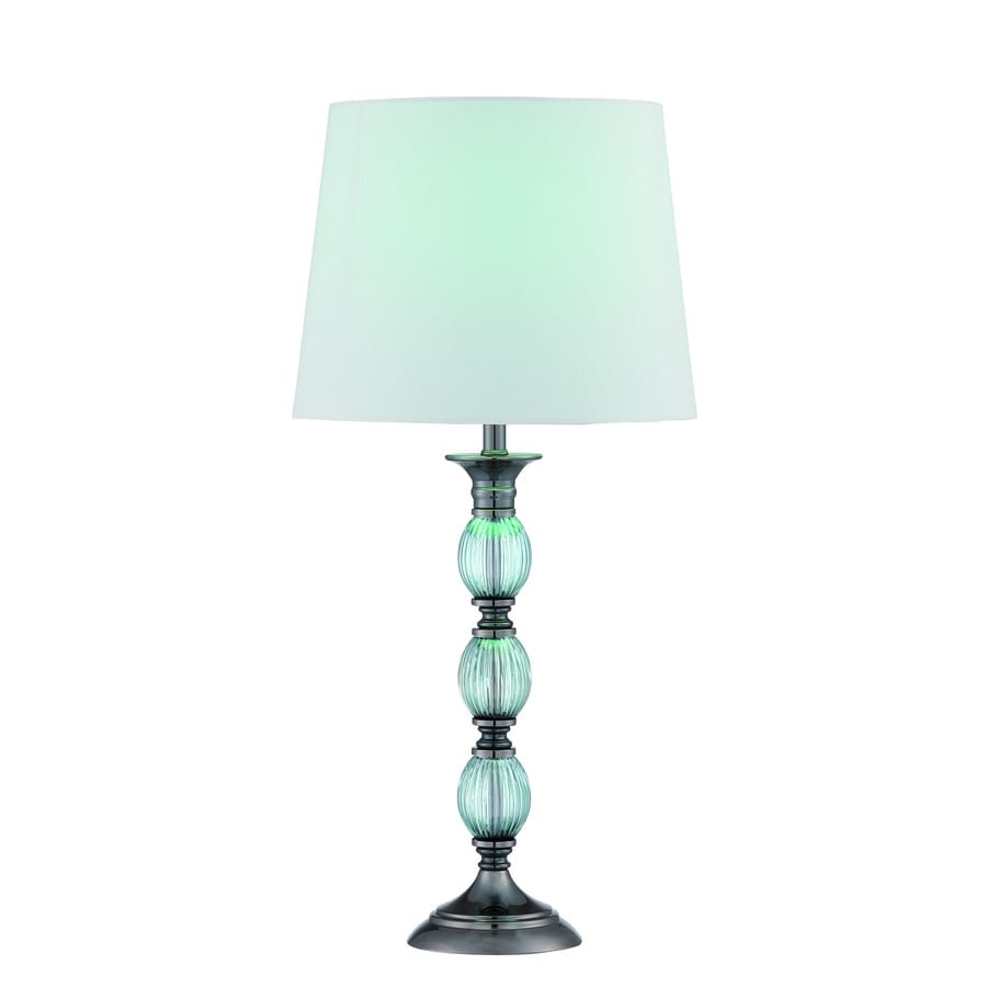 Lite Source Marin 22.5-in Gun Metal Turquoise Indoor Table Lamp with Fabric Shade