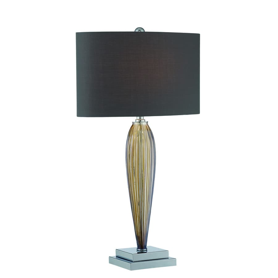 Lite Source Ofra 25.5-in Chrome Smoked Amber Indoor Table Lamp with Fabric Shade