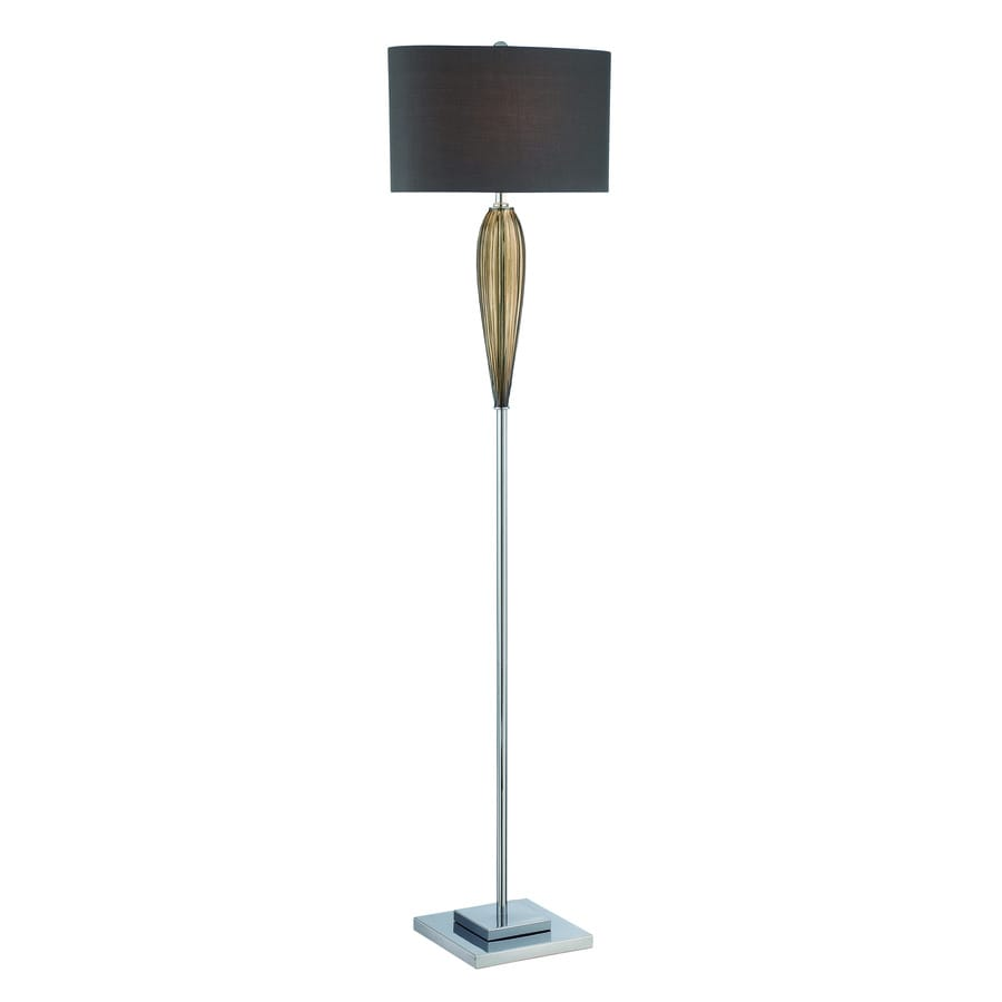 Lite Source Ofra 62.5-in Chrome Smoked Amber Shaded Indoor Floor Lamp with Fabric Shade