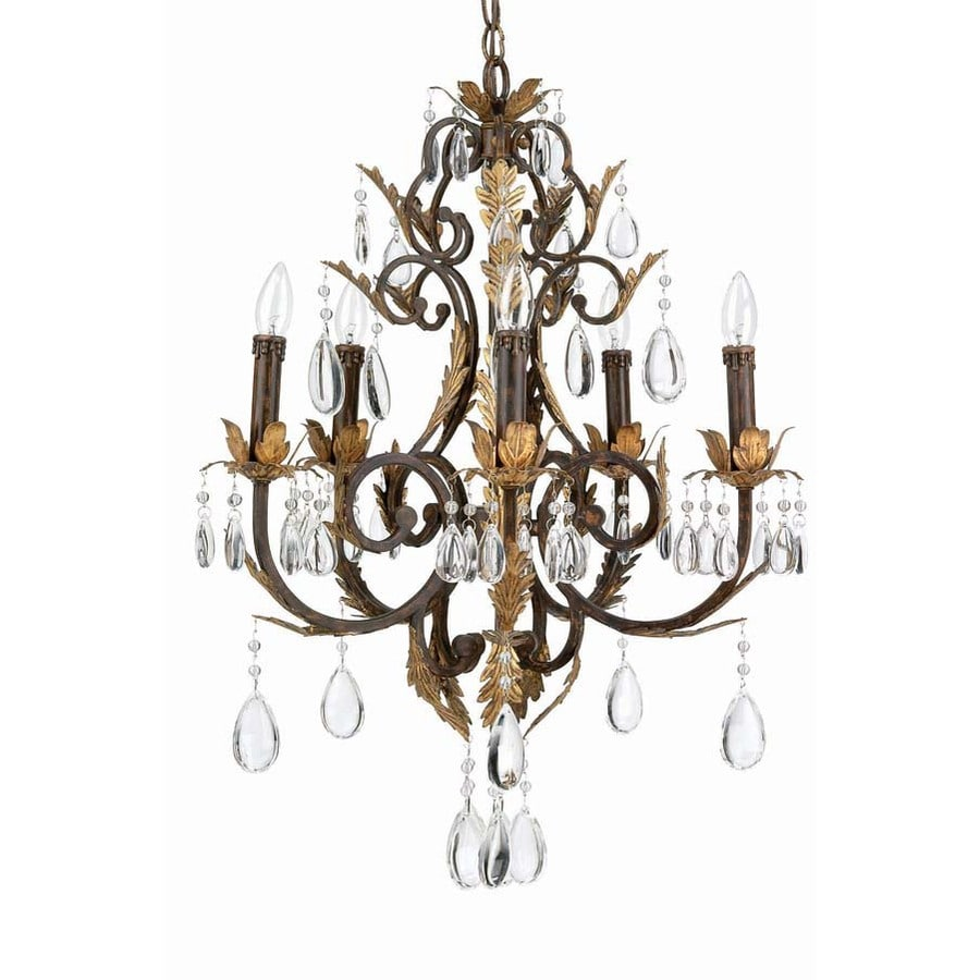 Lite Source Stedim 21-in 5-Light Bronze Williamsburg Candle Chandelier