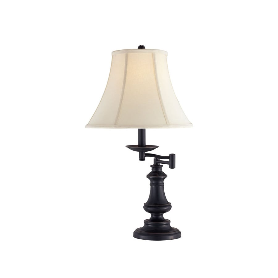 Lite Source 25-3/4-in Adjustable Black Traditional Desk Lamp with Fabric Shade