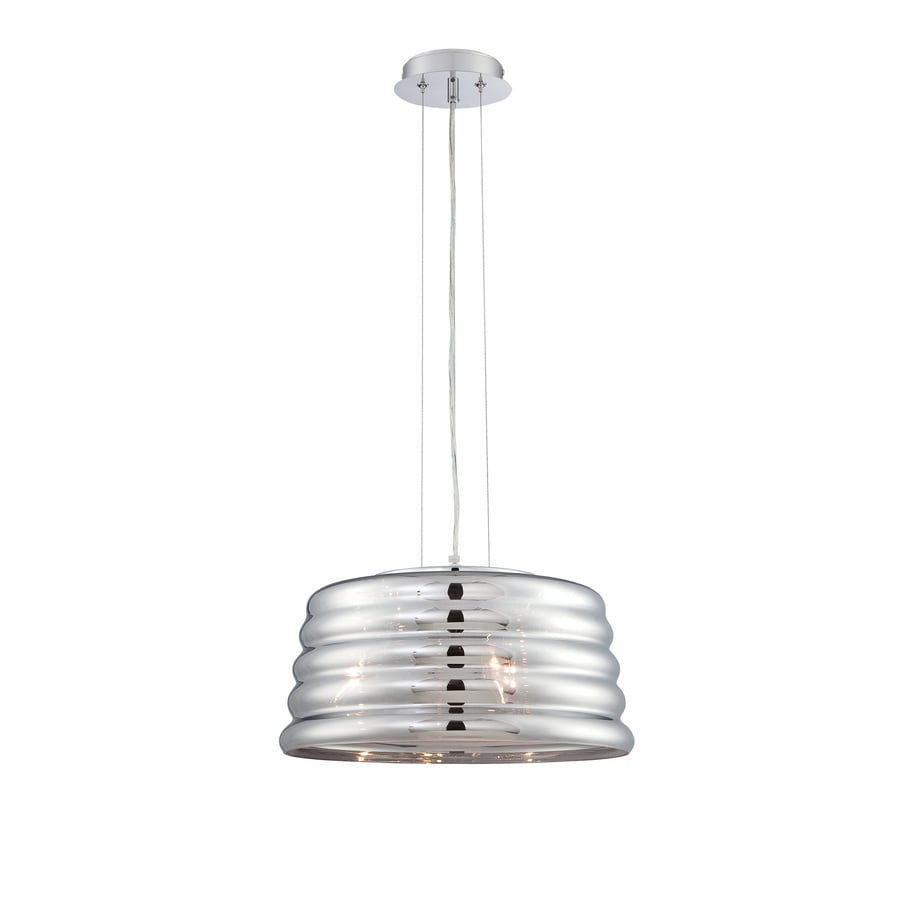 Lite Source Venice 15.5-in Chrome/Gloss Industrial Single Mirrored Glass Jar Pendant