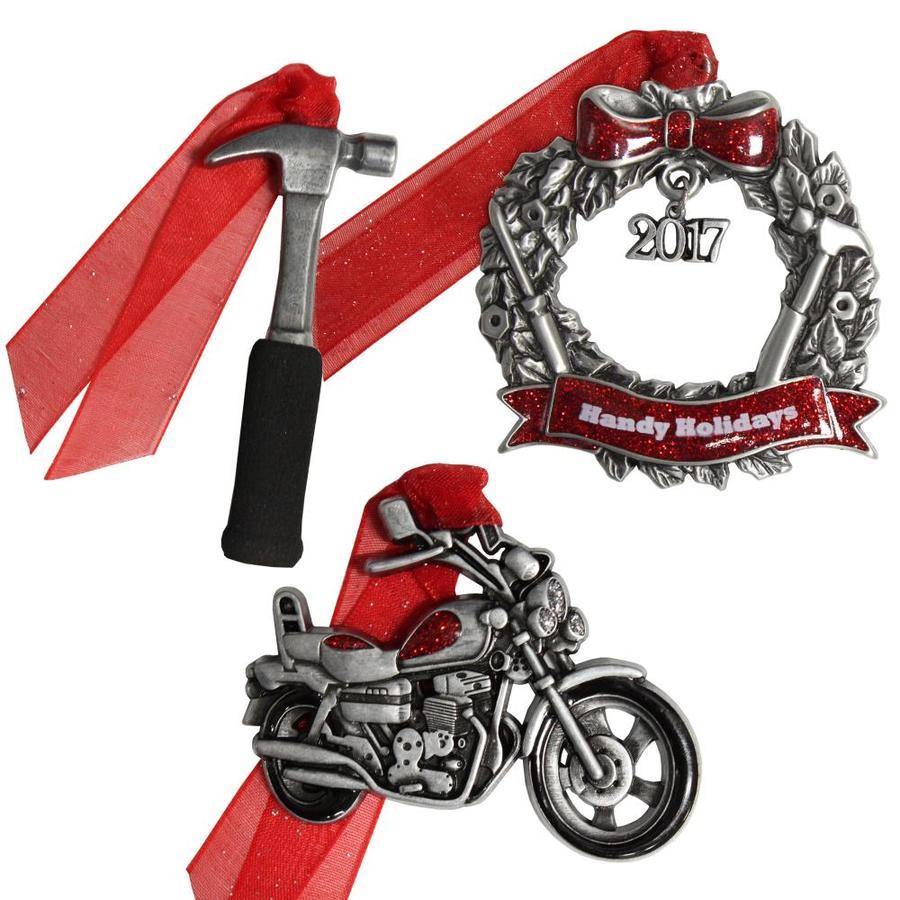 Gloria Duchin 3-Pack Pewter Handy Holidays Motorcycle Ornament Set