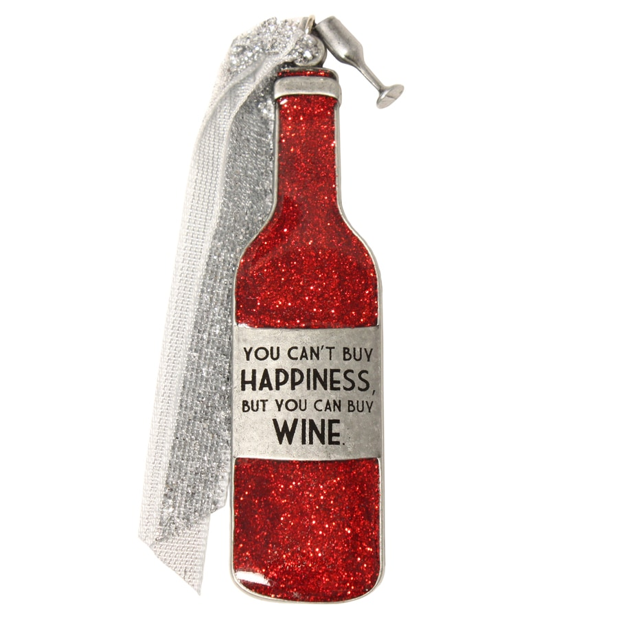 Gloria Duchin Pewter You Cant Buy Happiness But You Can Buy Wine Ornament