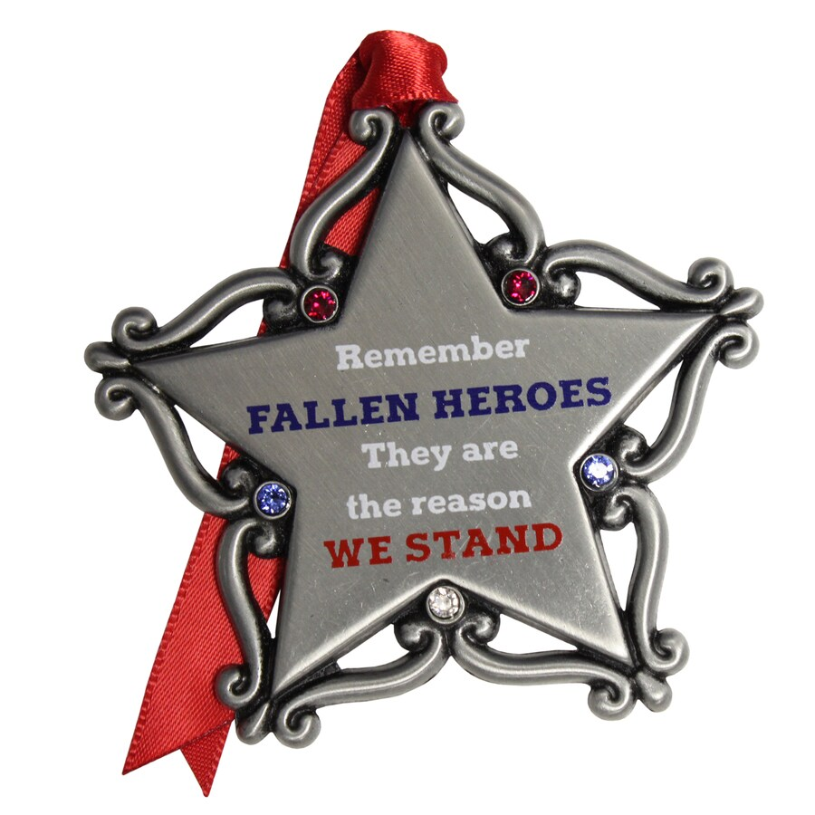 Gloria Duchin Pewter Remember Fallen Heros They Are The Reason We Stand Patriotic Ornament