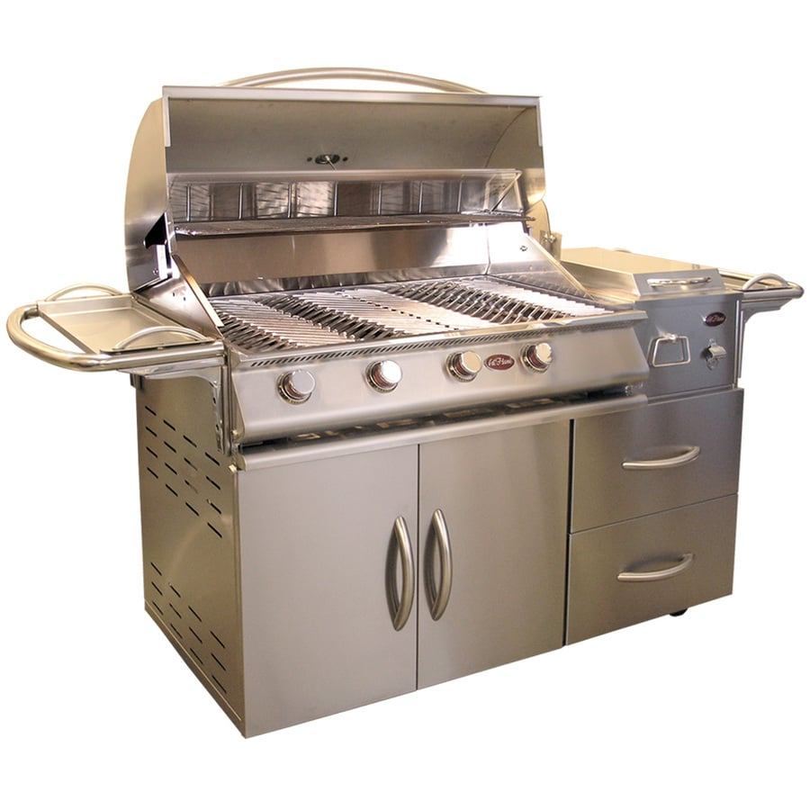 Cal Flame Stainless Steel 4-Burner (60,000-BTU) Liquid Propane Gas Grill with Side Burner