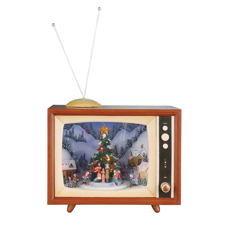 Roman Wood Lighted Musical Animatronic Retro TV with Carolers Christmas Collectible
