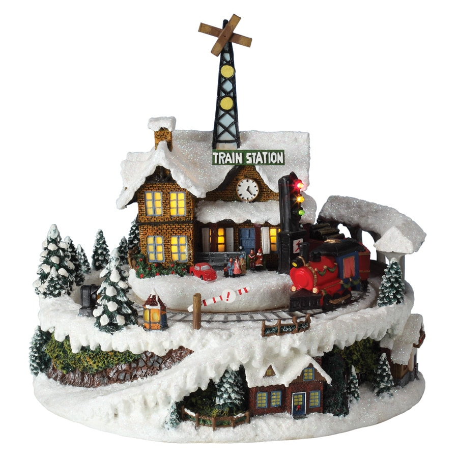 Amusements Christmas Resin Lighted Musical Train Station