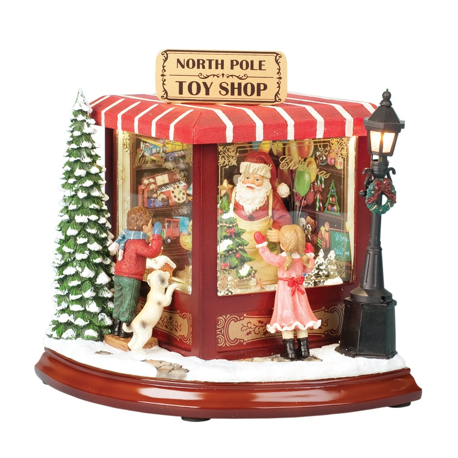 Amusements Christmas Resin Lighted Musical North Pole Animated Toy Shop