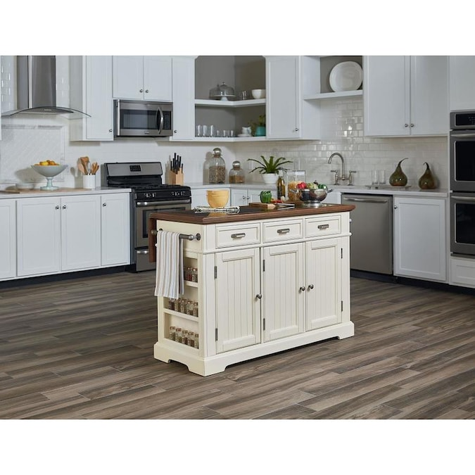 Osp Home Furnishings White Wood Base With Granite Top Kitchen Island 57 5 In X 23 In X 36 25 In In The Kitchen Islands Carts Department At Lowes Com